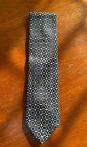 Stunning Fendi Designer 100% Silk Tie Blue White Circle NEW