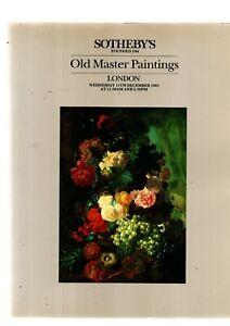 OLD MASTER PAINTINGS SOTHEBYS AUCTION  CATALOGUE LONDON 11TH DEC 1985 EX