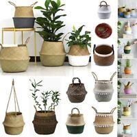 Seagrass Belly Basket Storage Bag Laundry Flower Plants Pots White Pom Pom Trim