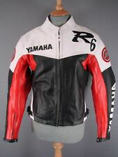'YAMAHA' BLACK, WHITE & RED LEATHER BIKER JACKET WITH REMOVABLE PADS 36 INCH/XS