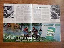 1966 Salem Cigarette Ad  Camping Lake Fishing Theme