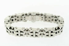 Lot of 5 Black & Blue 14mm Stainless Steel .10ctw Natural Diamond Bracelet
