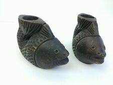 Pair of Koi Fish Resin Candle Holder Black Rustic Cabin Decor Nautical Heavy