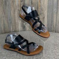 "Madeline ""Divania"" Sandals Women's 8M Black Flats Sling Back Thong Toe"