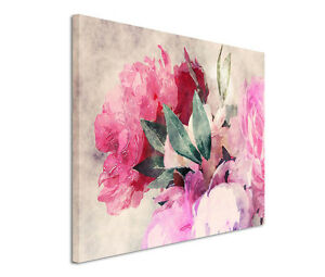 120x80cm Leinwandbild auf Keilrahmen Rosen Wasserfarben Pfingstrosen