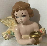 """VINTAGE CERAMIC HAND PAINTED ANGEL CANDLE HOLDER FIGURINE 8"""" TALL WALL HANGER"""