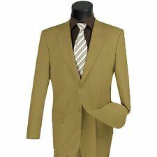 LUCCI Men's Khaki 2 Button Classic Fit Poplin Polyester Suit NEW