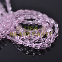 New 100pcs 5X3mm Teardrop Crystal Glass Faceted Spacer Loose Beads Pink