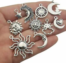 10 Assorted Sun Pendants Antiqued Silver Moon Celestial Mixed Charms
