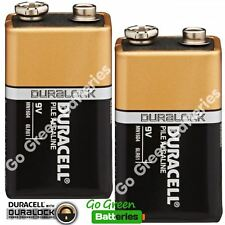 2 x Duracell 9V Alkaline Batteries Plus Duralock CopperTop PP3 LR22 BLOC MN1604