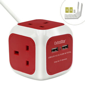 4 Way Extrastar  Electric Extension Lead Power Cube Socket with 2 USB Ports/1.5M