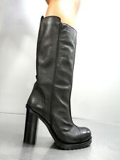 MORI MADE IN ITALY KNEE HIGH BOOTS STIEFEL STIVALI BIKER LEATHER BLACK NERO 41