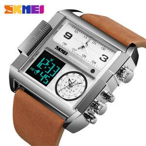 SKMEI Men Leather Watch Large Dial Military LED Digital Quartz Male Wristwatches