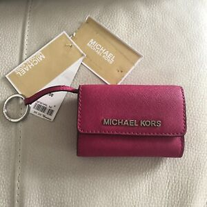 Michael Kors Jet Set Travel Leather Coin Purse In Raspberry