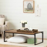 Metal Wood Coffee Table Modern Living Room Furniture Simple Rustic Bamboo Finish