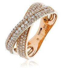 Pave Diamond Double Band X-Shaped Wedding Ring 0.70ct F VS in 18ct Rose Gold