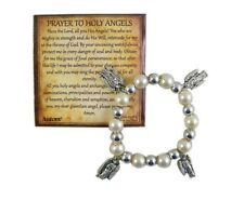 First Communion Faux Pearl Bead Bracelet with Archangel Charms and Story Card