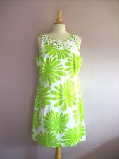 ROMAN Size 18 Lime Green + White Stretch Cotton Sleeveless Bead Neck Shift Dress
