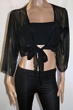 BIG ADVANTAGE Brand Black 3/4 Sleeve Tie Front Chiffon Shrug Size M BNWT #LIN