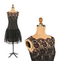 Vintage 50s 60s Black Scalloped Floral Lace illusion Drop Waist Party Dress XS