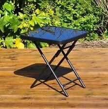 KINGFISHER FOLDING DRINKS PATIO SIDE TABLE GARDEN GLASS 50CM OUTDOOR SUMMER NEW