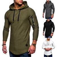 Mens Casual Hoodies Tops Pullover Pocket T-Shirt Solid Long Sleeve Hoody Sweater