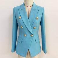 New Blue Women's Luxury Designer Inspired Fitted Blazer Golden Buttons Coats