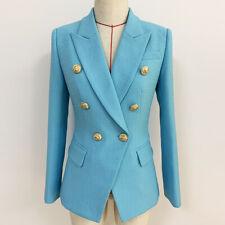 2021  Women's   Luxury Designer Inspired Blue Fitted Blazer Golden Buttons Coat