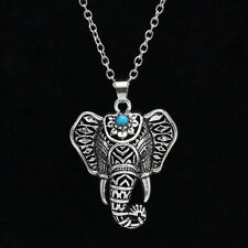 Vintage Necklace Silver Turquoise Elephant Charm Pendant Chain Choker Jewelry