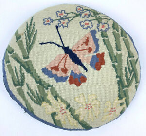 """Vtg Butterfly BAMBOO Flowers ROUND Needlepoint THROW Pillow 13"""" Blue ORANGE"""
