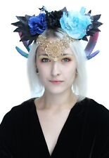Maleficent Fantasy Flower Burlesque Halloween Rams Horn Headdress Headband Crown