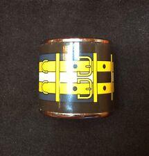 HERMES ENAMEL & PALLADIUM SCARF RING Buckle Design Black, yellow, gray