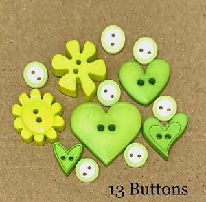 13 X MIX OF GREEN BUTTONS