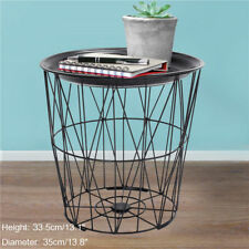 Retro Black Wire Round Metal Tray Top Storage Side Table Basket Home Furniture