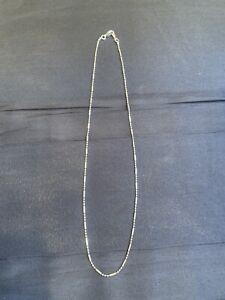 18KGP Designer White  GOLD Cylinder Ball Bead LINK Necklace