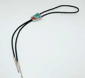 Sterling Turquoise & Coral Bolo Tie Signed Marvelyne Zuni