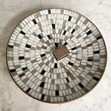 Large Vintage Mosaic Bowl. Handmade. 1970s. Copper Coated Back.