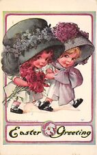 Charles Twelvetrees Easter~Little Girls in Exaggerated Flower Bonnets~1910 PC