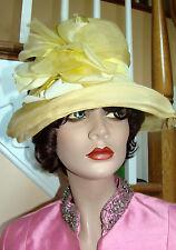 1950s Vintage SCHIAPARELLI PARIS Pale Yellow Straw Hat with Silk Organza Overlay
