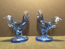 Pair of Blue Depression Glass Vintage Solid Glass Roosters