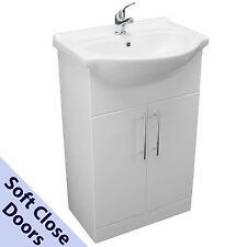 650mm BATHROOM VANITY CUPBOARD UNIT WHITE SOFT CLOSE DOORS BASIN SINK MIXER TAP
