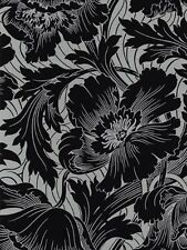 Black Floral on Silver Wallpaper TU27067