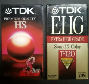 Lot of 2 New Old Stock Sealed Blank VHS Tapes TDK HS T-160 E-HG T-120 Unopened