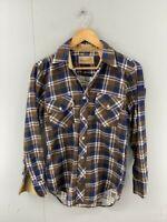 Sandherst Mens Blue Plaid Vintage Long Sleeve Dual Pocket Button Up Shirt Size S