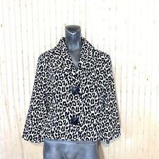 Painted Pony Women Medium Blazer Career Jacket Black White Leopard Animal Print