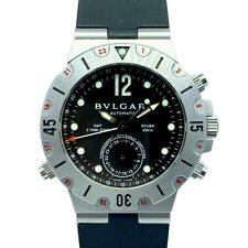 BVLGARI SD38SGMT Diagono Scuba GMT Black Men AT rubber Bracelet Watch