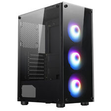 More details for pc gaming atx computer case mid tower argb tempered glass ionz ge330-3