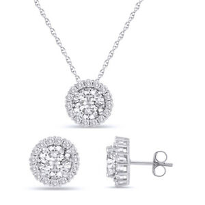 "White Sapphire Round Cut Halo Set With Earring & Pendant 18"" Chain"