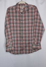 Wrangler Wrancher Womens Western Pearl Snap Shirt Long Sleeve Sz XL Brown Pink