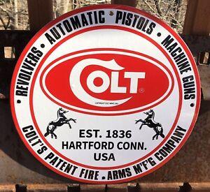 VINTAGE 1961 COLT ARMS MANUFACTURING PORCELAIN SIGN! HARTFORD REVOLVER PISTOL